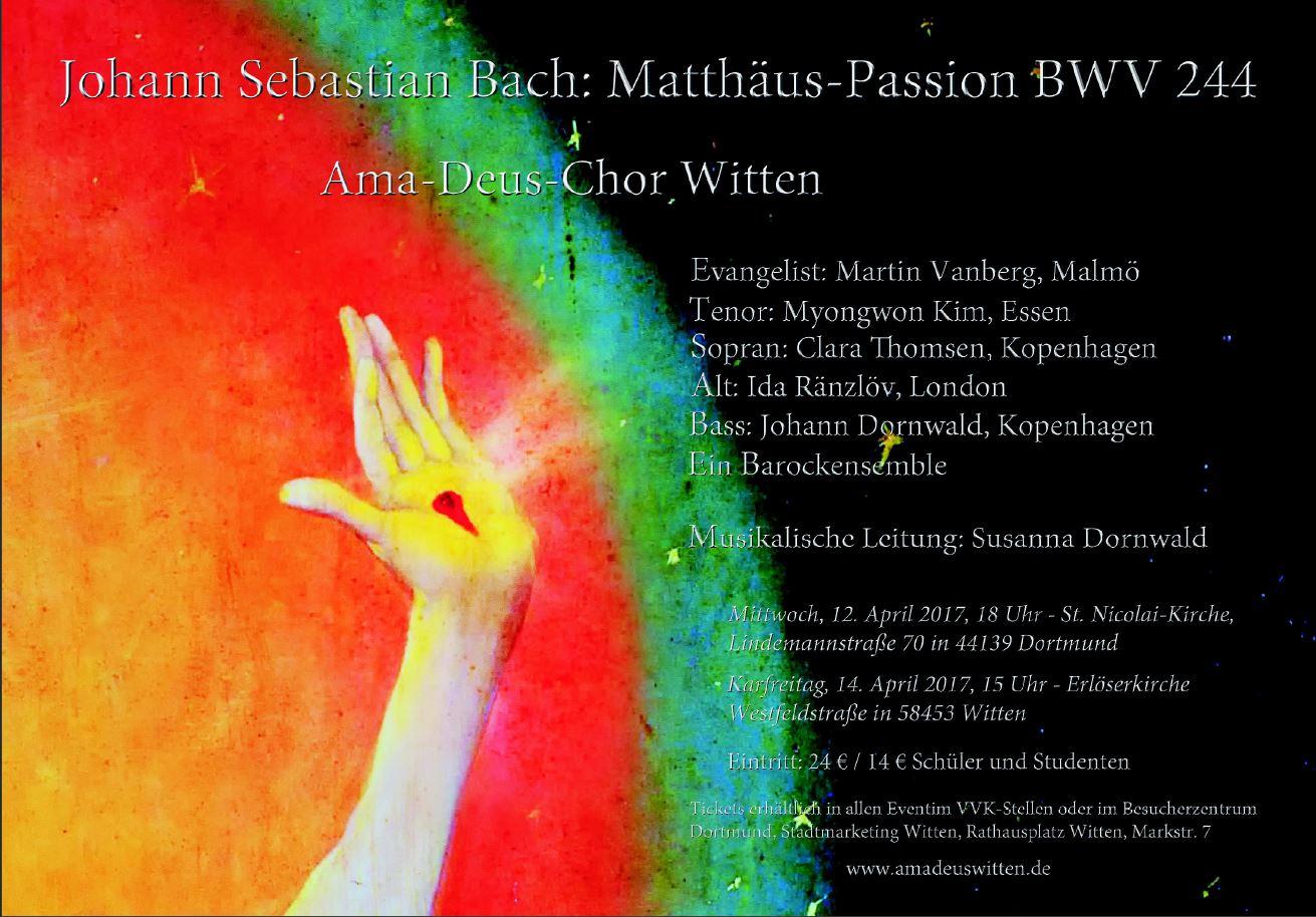 Plakat zur Matthäus-Passion des Ama-Deus-Chores
